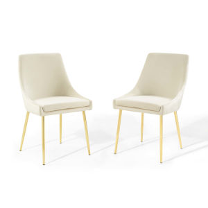 Cooper Gold Ivory Performance Velvet Dining Chairs, Set of Two