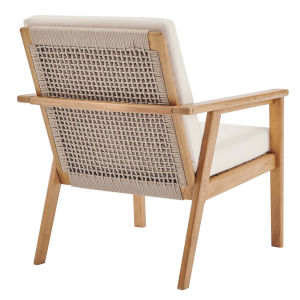 Darren Natural Beige Ash Wood Outdoor Patio Armchair
