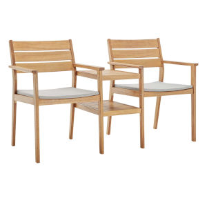 Darren Natural Taupe Outdoor Patio Ash Wood Jack and Jill Chair Set