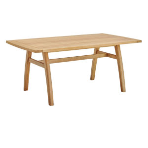 Darren Natural 57-Inch Outdoor Patio Eucalyptus Wood Dining Table