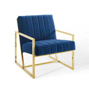 Cooper Navy Channel Tufted Performance Velvet Armchair
