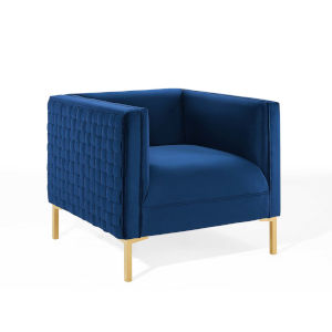 Cooper Navy Performance Velvet Armchair