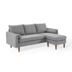 Uptown Light Gray Upholstered Right or Left Sectional Sofa