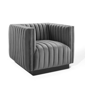 Cooper Gray Channel Tufted Performance Velvet Accent Armchair
