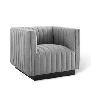 Cooper Light Gray Tufted Upholstered Fabric Armchair