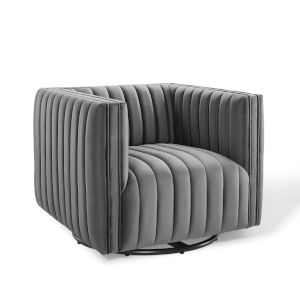 Cooper Gray Channel Tufted Performance Velvet Swivel Armchair