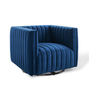 Cooper Navy Channel Tufted Performance Velvet Swivel Armchair