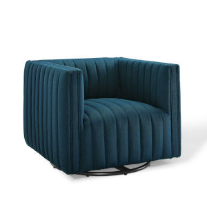 Cooper Azure Tufted Swivel Upholstered Armchair