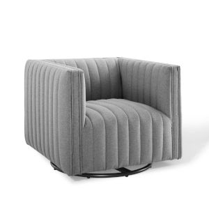 Cooper Light Gray Tufted Swivel Upholstered Armchair