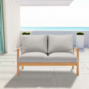 Darren Natural Light Gray Outdoor Patio Eucalyptus Wood Loveseat