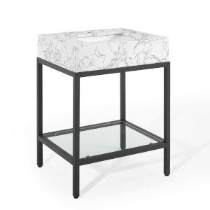 Monroe Black White 26-Inch Black Stainless Steel Bathroom Vanity