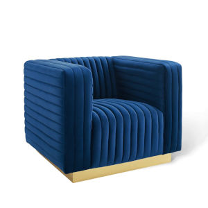 Cooper Navy Channel Tufted Performance Velvet Accent Armchair