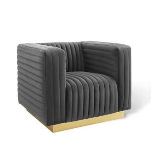 Cooper Charcoal Channel Tufted Performance Velvet Accent Armchair