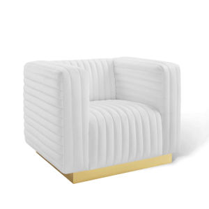 Cooper White Channel Tufted Performance Velvet Accent Armchair