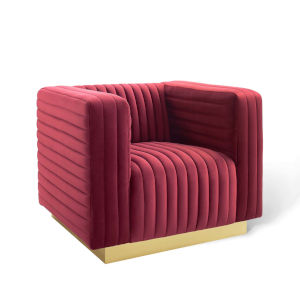 Cooper Maroon Channel Tufted Performance Velvet Accent Armchair