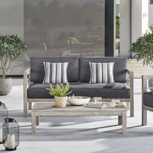 Roat Light Gray Outdoor Patio Acacia Wood Loveseat