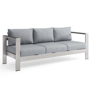 Taryn Silver Gray Outdoor Patio Aluminum Sofa