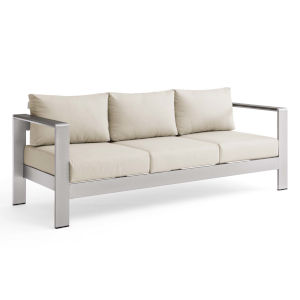 Taryn Silver Beige Outdoor Patio Aluminum Sofa