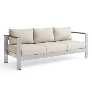Taryn Silver Beige Outdoor Patio Aluminum Sofa