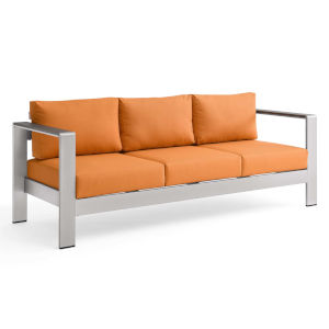 Taryn Silver Orange Outdoor Patio Aluminum Sofa