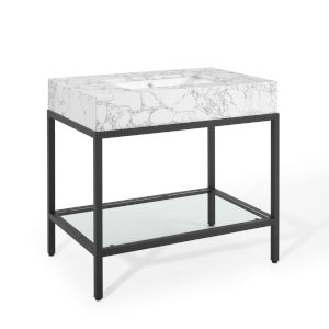 Monroe Black White 36-Inch Black Stainless Steel Bathroom Vanity