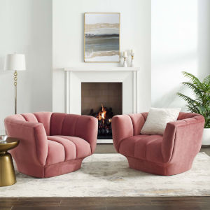 Cooper Dusty Rose Vertical Channel Tufted Performance Velvet Armchair, Set of Two