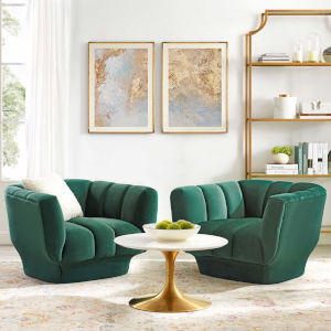 Cooper Green Vertical Channel Tufted Performance Velvet Armchair, Set of Two