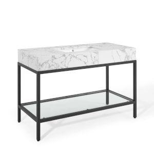 Monroe Black White 50-Inch Black Stainless Steel Bathroom Vanity