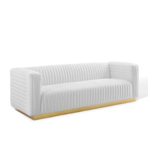 Cooper White Channel Tufted Performance Velvet Living Room Sofa