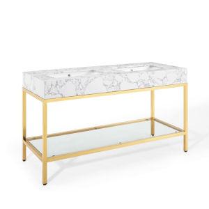 Monroe Gold White 60-Inch Gold Stainless Steel Bathroom Vanity