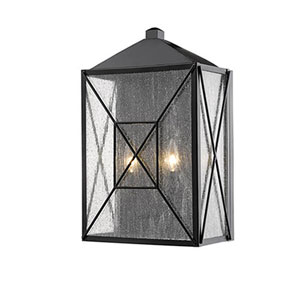 Jackson Black 12-Inch Two-Light Outdoor Wall Sconce