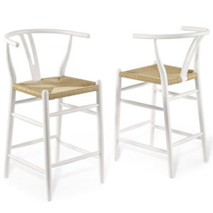 Nicollet White 37-Inch Bar Stool, Set of Two