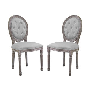 Grace Light Gray 22-Inch Vintage Dining Side Chair, Set of Two