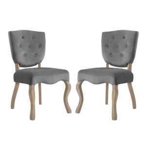 Aster Gray 25-Inch Dining Side Chair, Set of Two