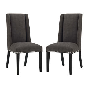 Linden Brown Fabric Dining Chair, Set of Two