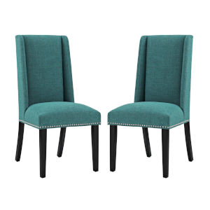 Linden Teal Fabric Dining Chair, Set of Two