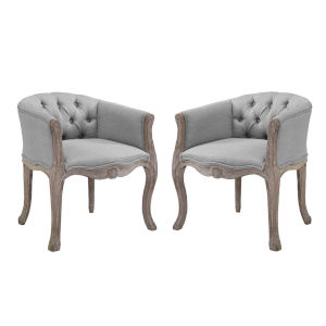 Wellington Light Gray Armchair, Set of Two