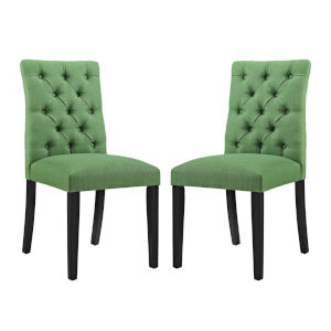 Whittier Green Fabric Dining Chair, Set of Two