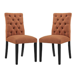 Whittier Orange Fabric Dining Chair, Set of Two