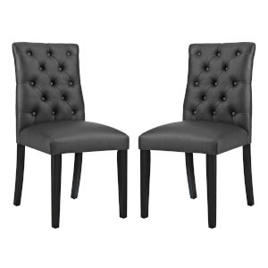 Whittier Black Vinyl Dining Chair, Set of Two