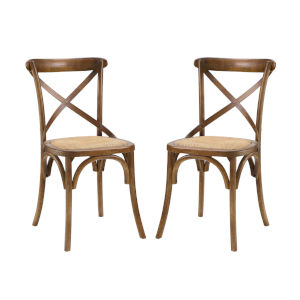 Afton Walnut Dining Side Chair, Set of Two