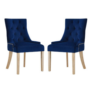 Vivian Navy Velvet Dining Chair, Set of Two