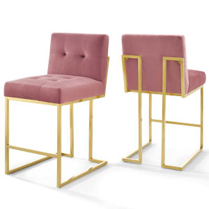Monroe Gold Dusty Rose 37-Inch Bar Stool, Set of Two