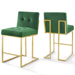 Monroe Gold Emerald 37-Inch Bar Stool, Set of Two