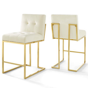 Monroe Gold Ivory 37-Inch Bar Stool, Set of Two