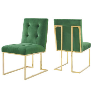 Cooper Gold Emerald Velvet Dining Chair, Set of Two
