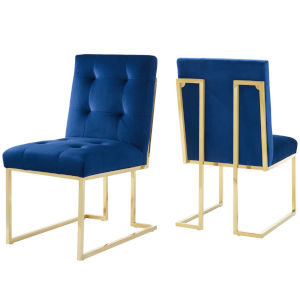 Cooper Gold Navy 38-Inch Velvet Dining Chair, Set of Two