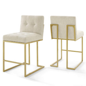 Cooper Gold Beige 46-Inch Upholstered Dining Chair, Set of Two