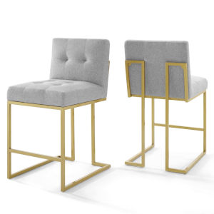 Cooper Gold Light Gray Upholstered Dining Chair, Set of Two