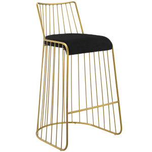 Vivian Gold Black 38-Inch Bar Stool